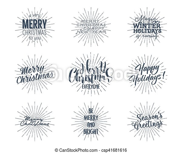 set of christmas new year 2017 lettering wishes sayings and vintage labels seasons greetings