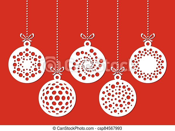 Set of christmas ornaments drawn by dots. Template for laser cutting. Christmas card. - csp84567993
