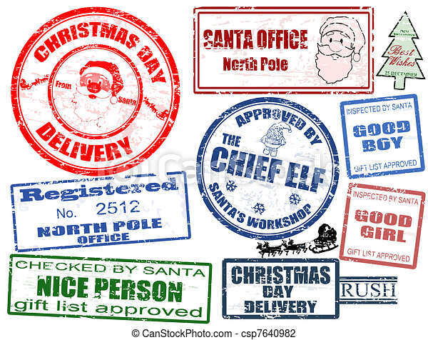 Set of Christmas stamps - csp7640982