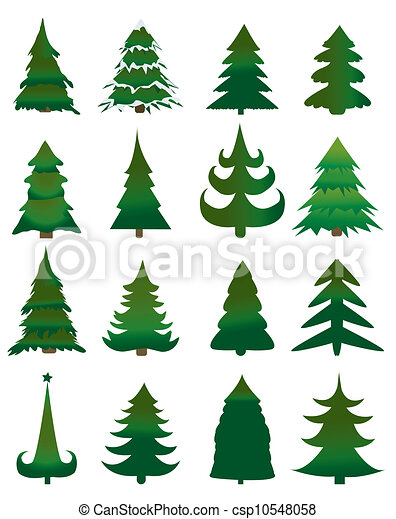 Set of Christmas trees - csp10548058