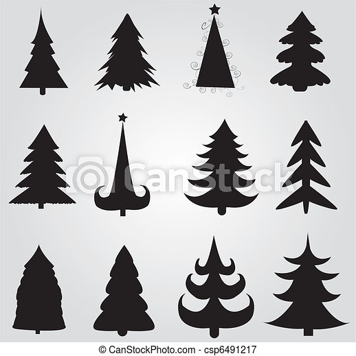 set of christmas trees - csp6491217