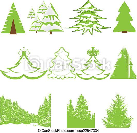 Set of Christmas winter pine tree - csp22547334