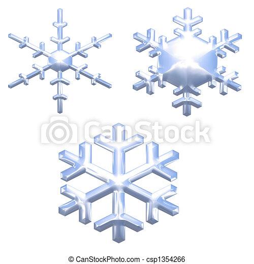 set of chrome metal effect snow flakes over white - csp1354266