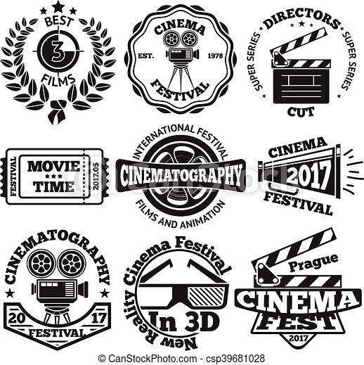 Set Of Cinema Badges With Camera Clapboard Ticket Etc Vector