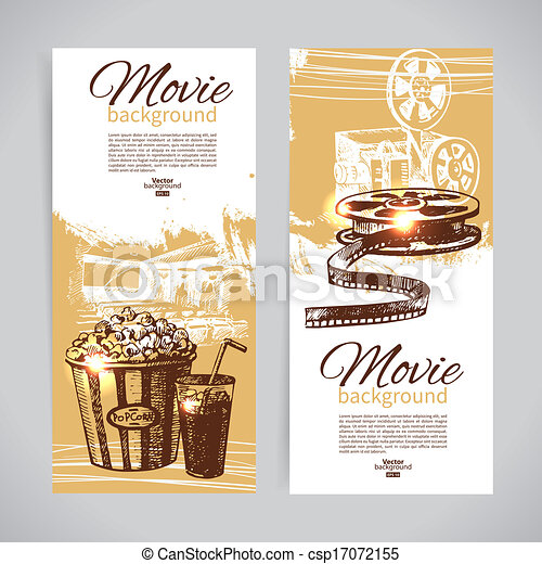 Set of cinema banners with hand drawn sketch illustrations - csp17072155