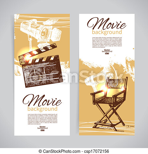 Set of cinema banners with hand drawn sketch illustrations - csp17072156