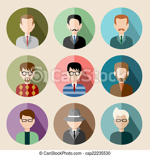 Set of circle flat icons with man. vector illustration - csp22235530