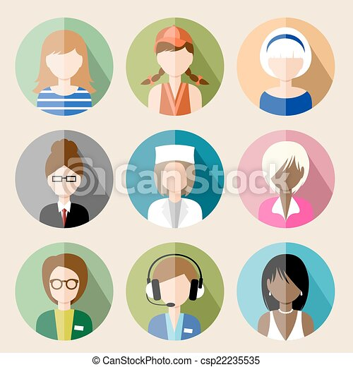 Set of circle flat icons with women. vector illustration - csp22235535