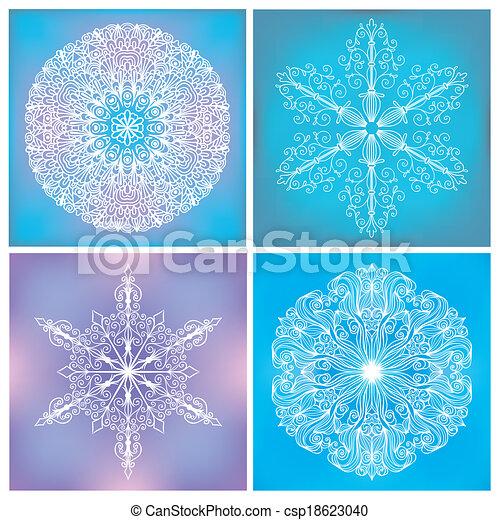 Set Of Circle Lacy Patterns - csp18623040