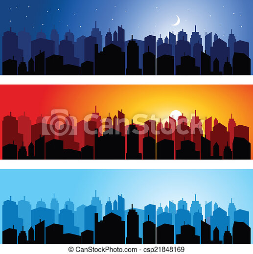 Set of city skyline - csp21848169