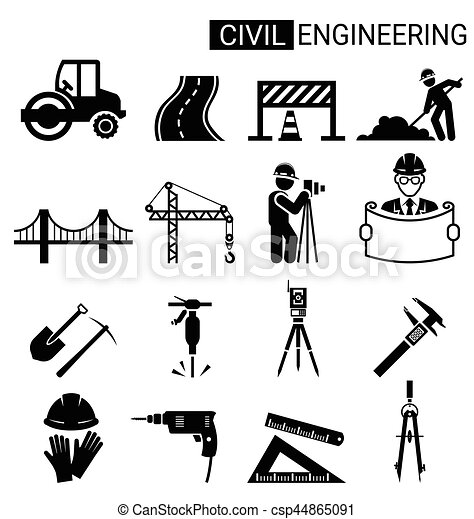 Set of civil engineering icon design for infrastructure construction - csp44865091