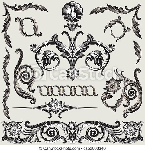 Set Of Classic Floral Decoration Elements - csp2008346