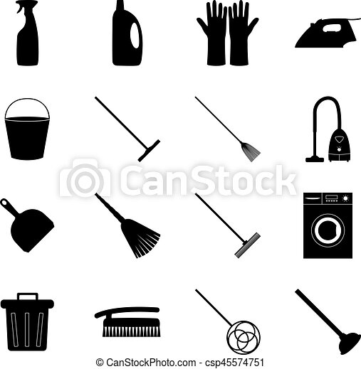 Set of cleaning icons, vector illustration - csp45574751
