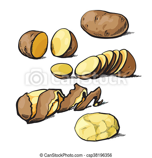 Set of cleaning potatoes and cut