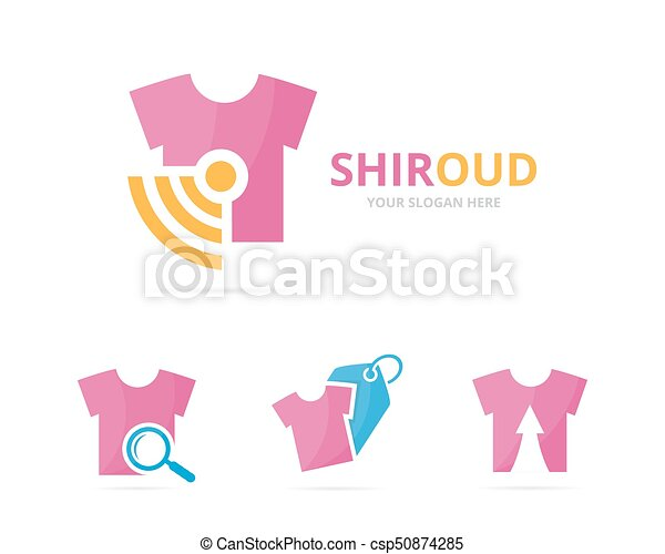 Set of cloth logo combination. Shirt and signal symbol or icon. Unique fashion and radio, internet logotype design template. - csp50874285
