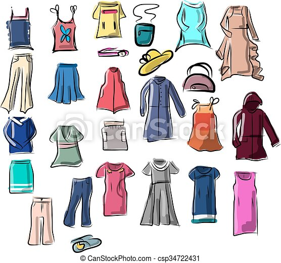 set of clothes vector illustration on your canvas