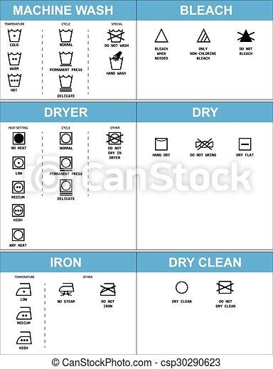Set Of Clothing Care Symbols Vector Set Of Clothing Care Symbols