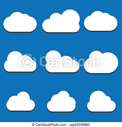 Set of Cloud Icons in trendy flat style isolated on blue background. Cloud symbol for your web site design, logo, app, UI. Vector illustration, EPS10. - csp52556863