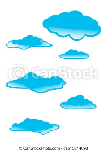 set of clouds on a white background - csp15314098