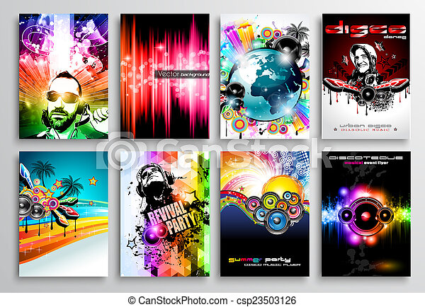 Set of Club Flyer design, Party poster templates - csp23503126