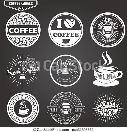 set of coffee labels design elements emblems and badges isolated