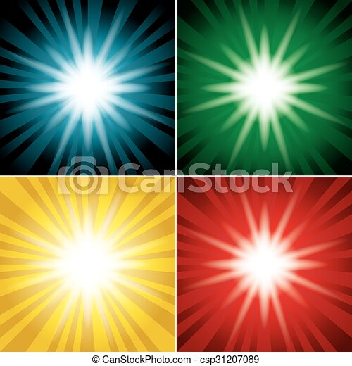 set of color backgrounds with flash - csp31207089