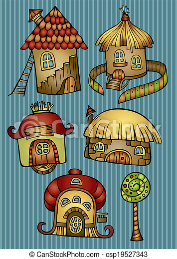 Set of color cartoon vector houses - csp19527343