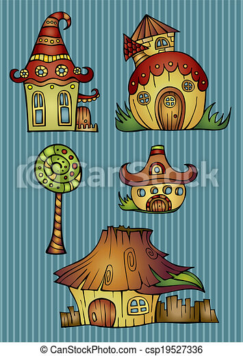 Set of color cartoon vector houses - csp19527336