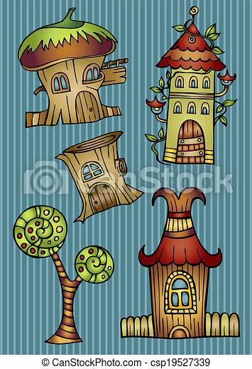 Set of color cartoon vector houses - csp19527339