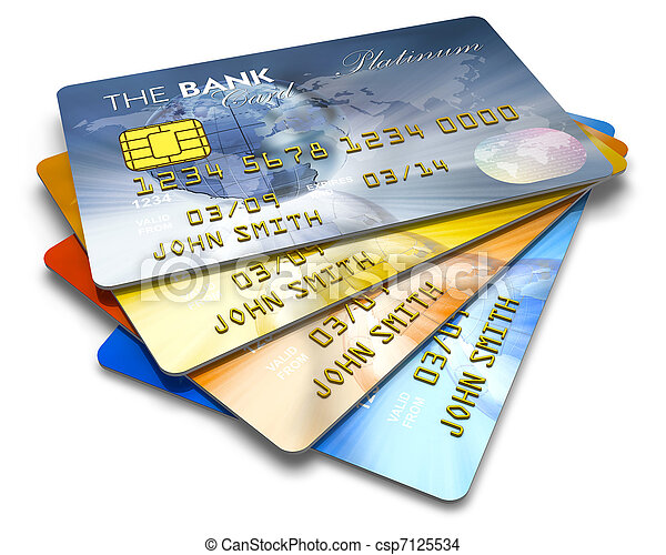 Set of color credit cards - csp7125534