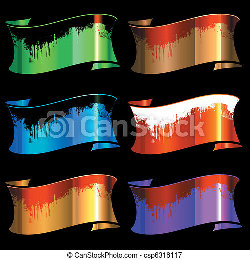 set of color glossy ribbons with dirt - csp6318117