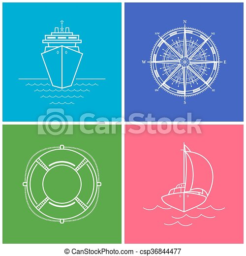 Set of Color Maritime Icons - csp36844477