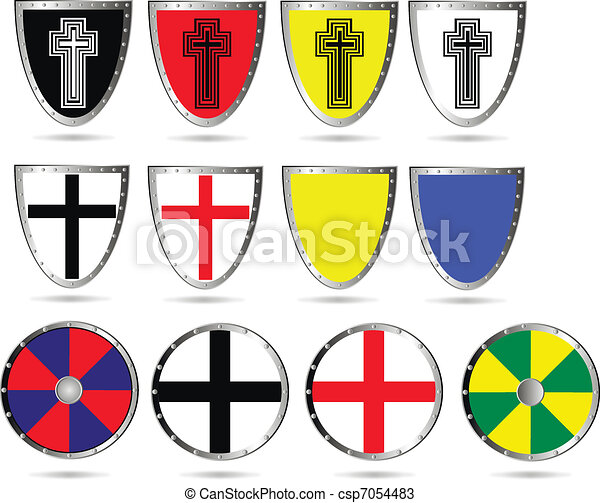 Set Of Color Medieval Shields Vector Set Of Color Medieval Shields