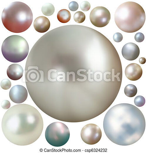 Set of color pearls isolated on white. EPS 8 - csp6324232