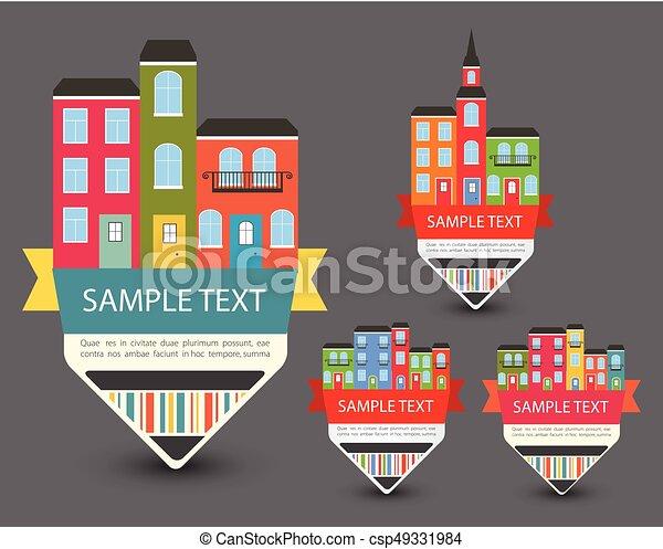 Set of Color sale vintage signs/labels - csp49331984