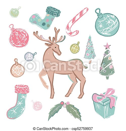 Set of colored christmas elements - csp52759937