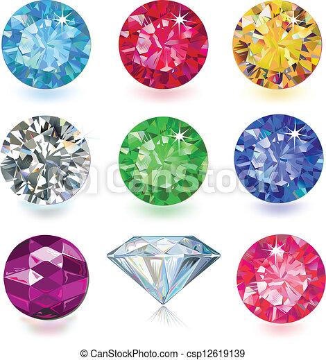 Set of colored gems - csp12619139