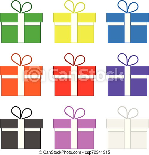 Set of Colored Gifts isolated on white background. Holidays Element. Vector Illustration for Your Design, Game, Card. - csp72341315