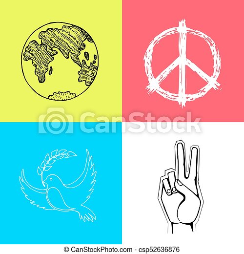 Set Of Colored Posters For International Peace Day Multicolored