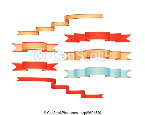 set of colored ribbons - vector - csp29634520