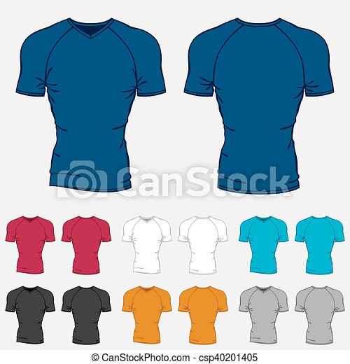 Set of colored t-shirts templates for men. vector clipart - Search ...