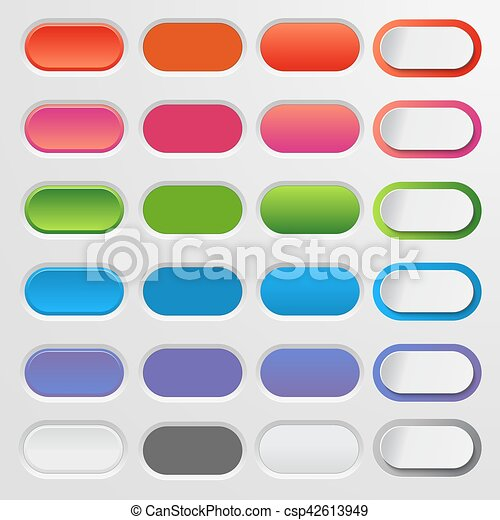 Set of colored web buttons. Colorful collection vector for your website and design. - csp42613949