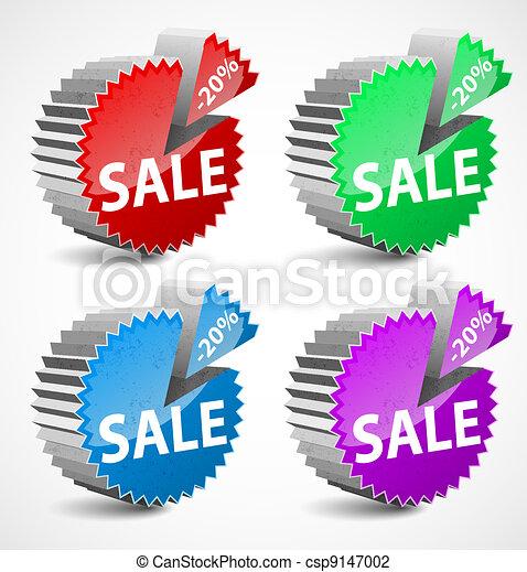 Set of colorful 3d vector sale labels. - csp9147002