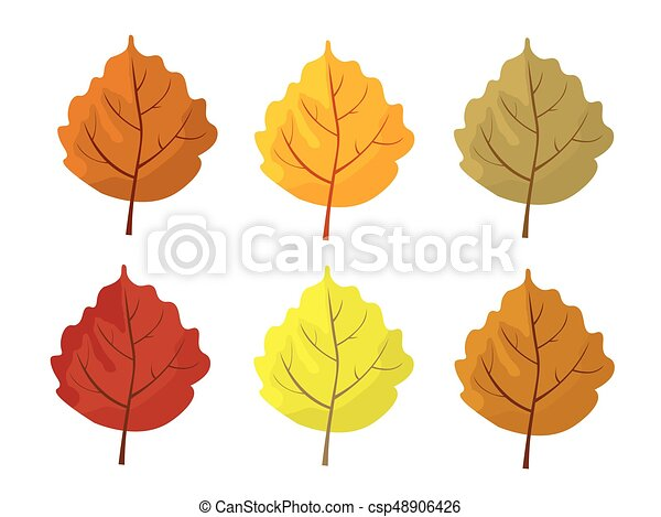 Set Of Colorful Autumn Leaves Cartoon And Flat Style Leafs White Background Vector Illustration Set Of Colorful Autumn