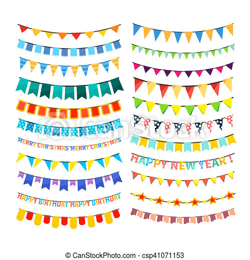 Set of colorful bunting and garlands isolated on white - csp41071153