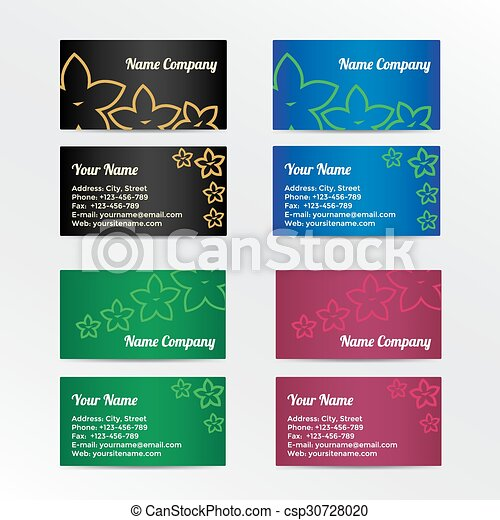 Set of colorful business card with abstract flowers - csp30728020
