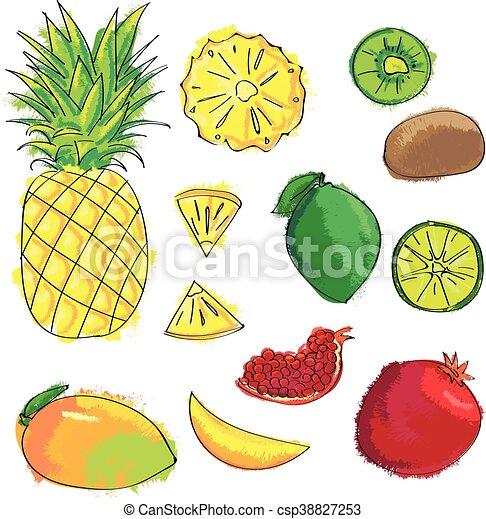 Set of colorful cartoon fruit icons: pineapple, kiwi, lemon, mango, garnet, lime. - csp38827253