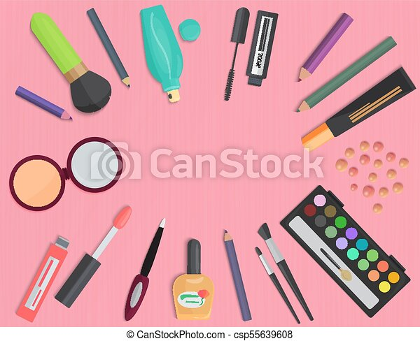 Set of colorful cosmetic isolated on a pink background. Top view. - csp55639608