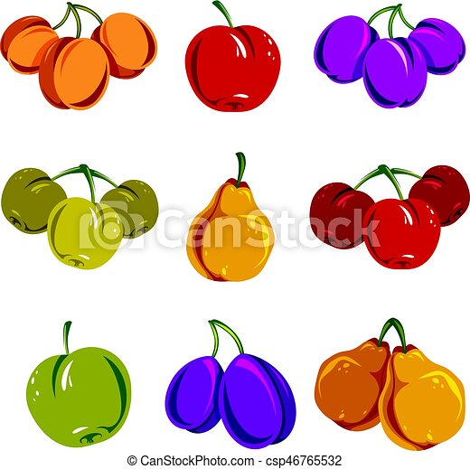 set of colorful different vector ripe sweet fruits apricots plums