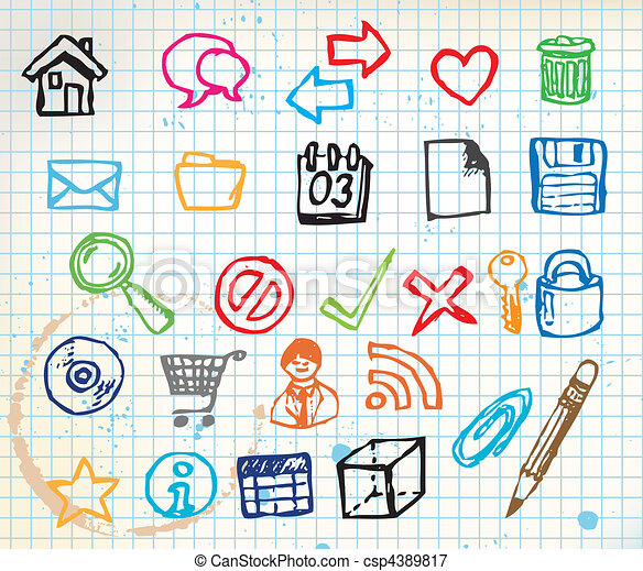 Set of colorful doodle computer icons - csp4389817